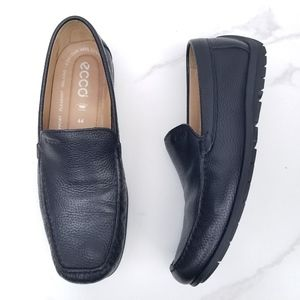 ECCO Driving Loafers Moc Slip On Black Leather